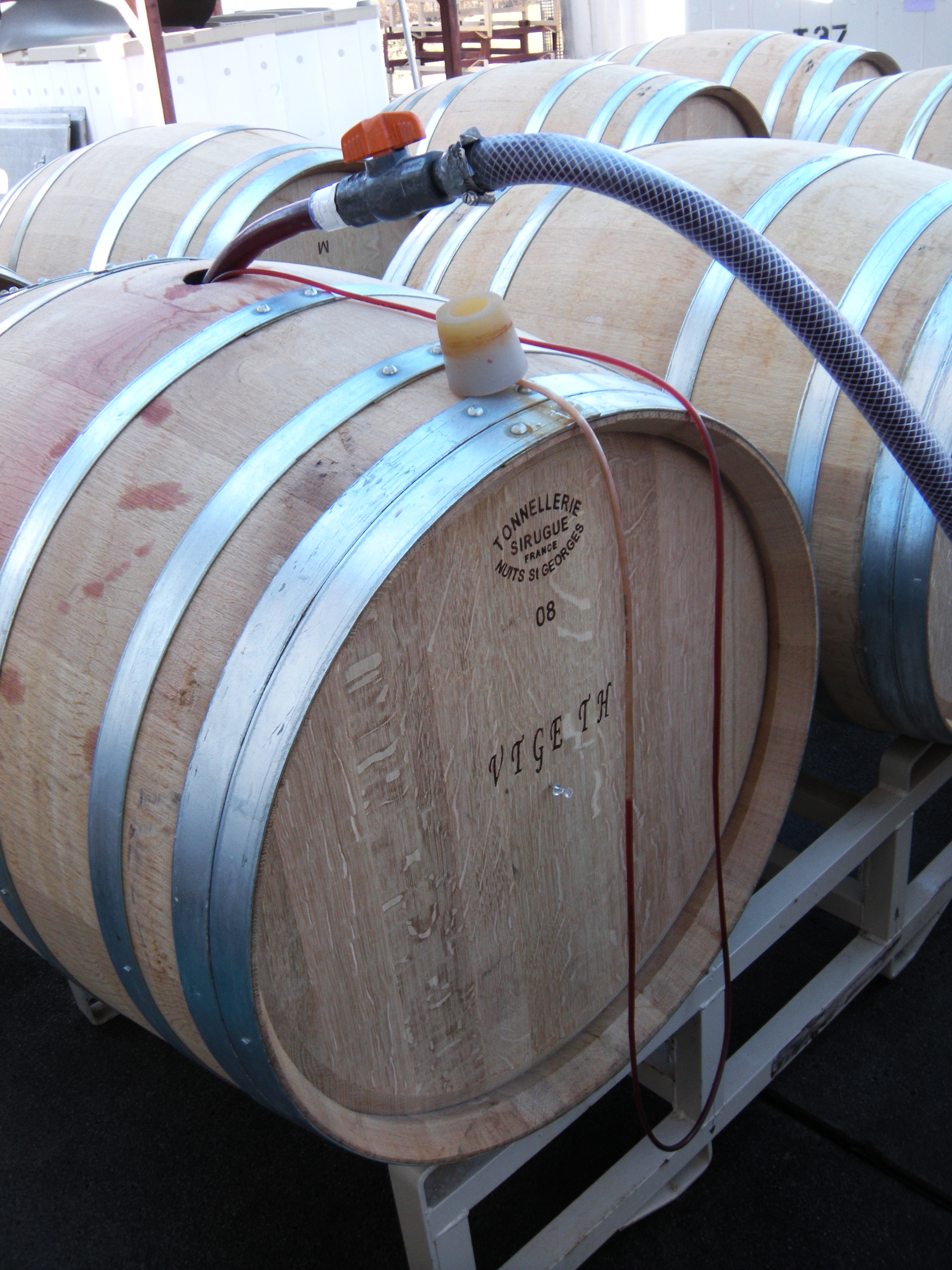 Barrel being filled with wine.