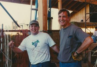 Mike Sinor and Clay Building the Strawbale Winery in 1995